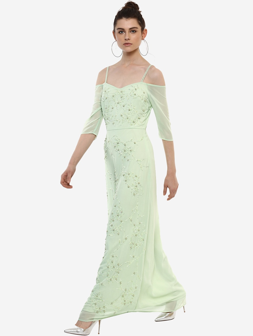 5183ac0e86 Buy Mint Green Embellished Maxi Dress for Women from Kazo for ₹3718 at 47%  off