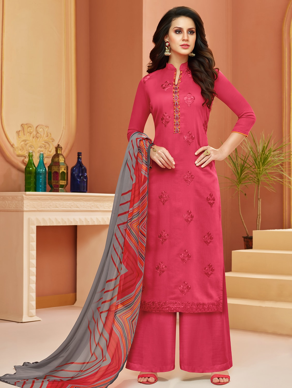 193115a2cb0 Buy Embroidered Unstitched Palazzo Suit for Women from Mf Next for ₹1249 at  75% off