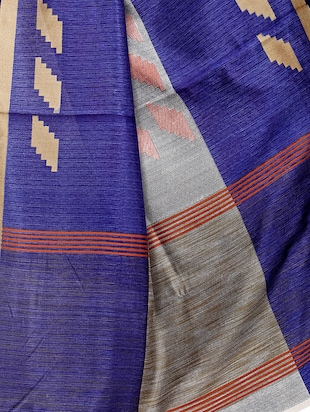 Geometrical printed saree with blouse - 15494214 - Standard Image - 4