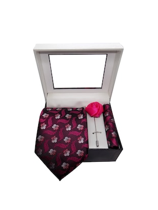 pink micro fiber tie with pocket square and lapelpin - 15495582 - Standard Image - 4
