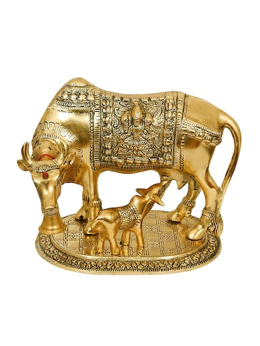 Large Gold Cow And Calf Metal Statue - 15496437 - Standard Image - 1