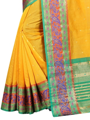 contrast zari border banarasi saree with blouse - 15496856 - Standard Image - 4