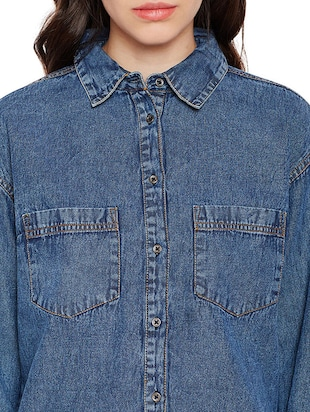 pocket patch denim shirt - 15502697 - Standard Image - 4