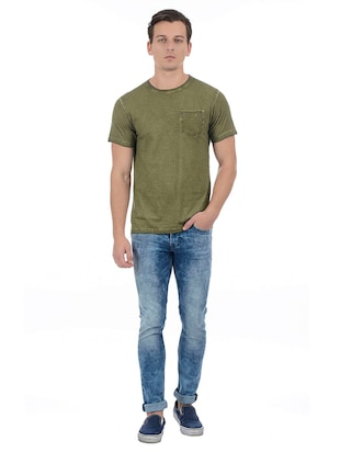 green cotton blend pocket t-shirt - 15504485 - Standard Image - 4
