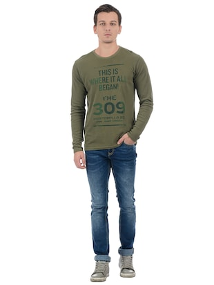 green cotton blend front print t-shirt - 15504487 - Standard Image - 4