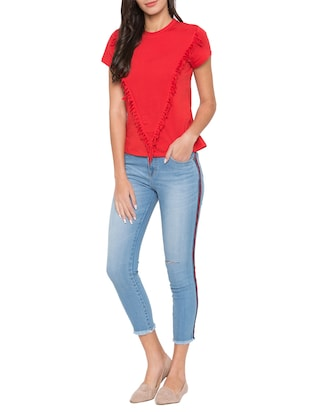 side taped ankle length jeans - 15504893 - Standard Image - 4