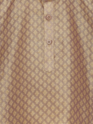 beige cotton blend kurta set - 15505463 - Standard Image - 4