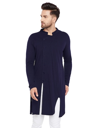 blue cotton asymmetric kurta - 15515677 - Standard Image - 1