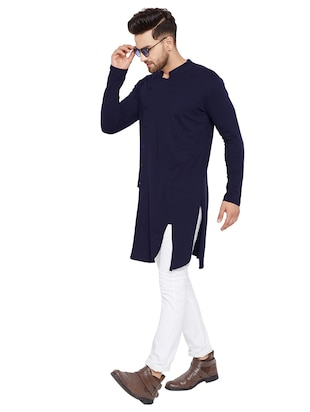 blue cotton asymmetric kurta - 15515677 - Standard Image - 4
