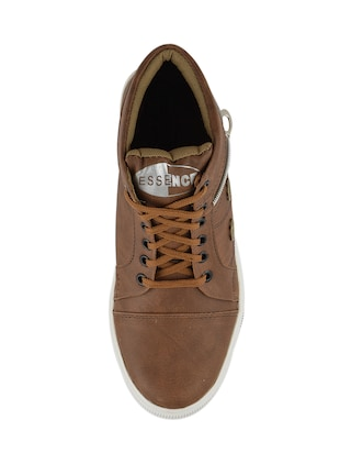 tan leatherette lace up sneakers - 15519550 - Standard Image - 4