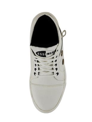 white leatherette lace up sneakers - 15519551 - Standard Image - 4