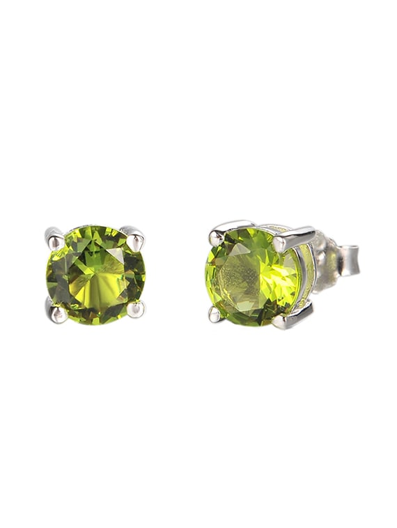 e4f5d6fb42f5a Green Silver Tone Stone Earrings