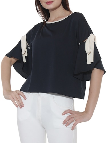 Button Strap knot detailed boxy top - 15527435 - Standard Image - 1