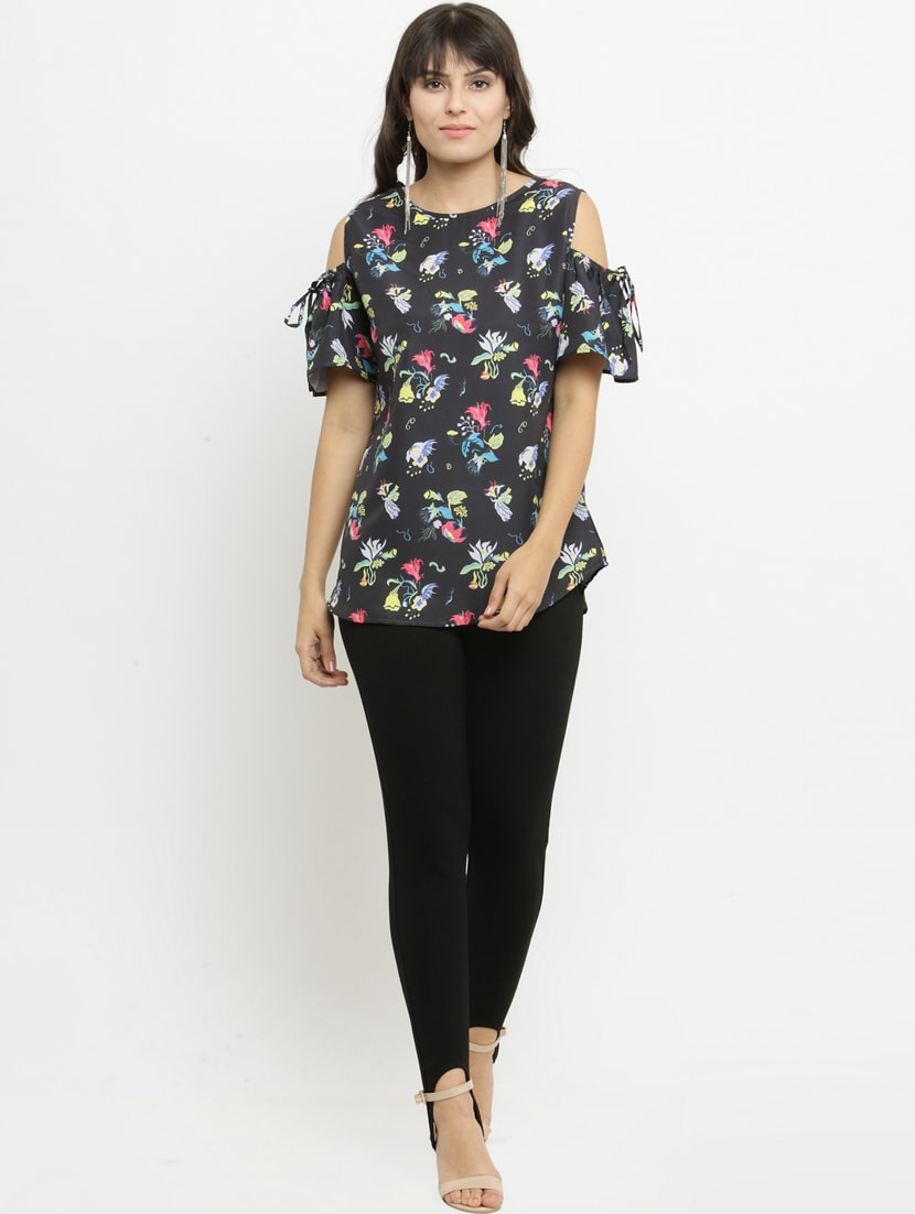 be6fe9f39118f4 Buy Tie Up Cold Shoulder Printed Top by Silly People - Online ...