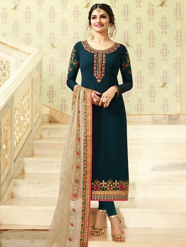 Floral embroidery churidaar suit set - 15534011 - Standard Image - 1
