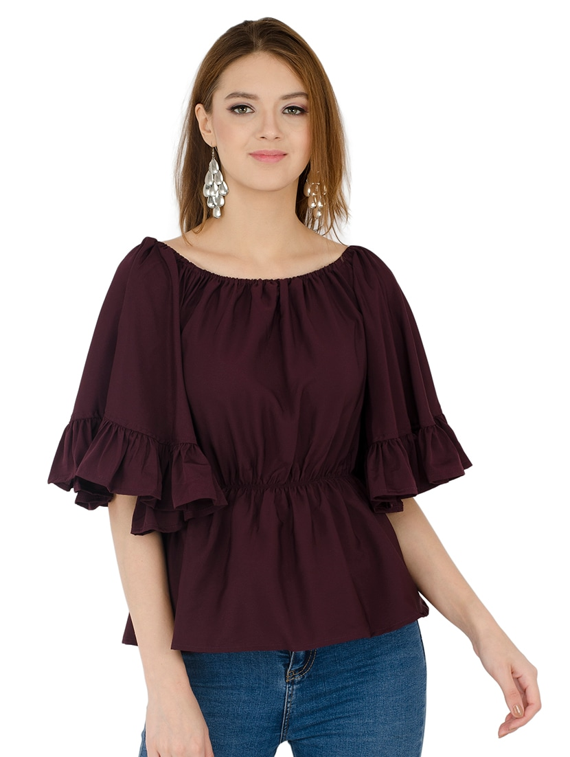 1a09ab598c19c Buy Off Shoulder Bell Sleeved Ruffle Top for Women from Vihi Creations for  ₹429 at 57% off