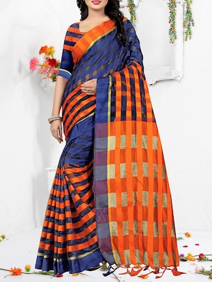 cc1f1770f5 Buy Stripes Woven Saree With Blouse by Yoyo Fashion - Online shopping for  Sarees in India