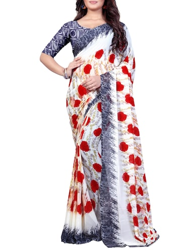 95fd2a808019f Buy Cream Color Saree With Blouse for Women from Rajnandini for ...