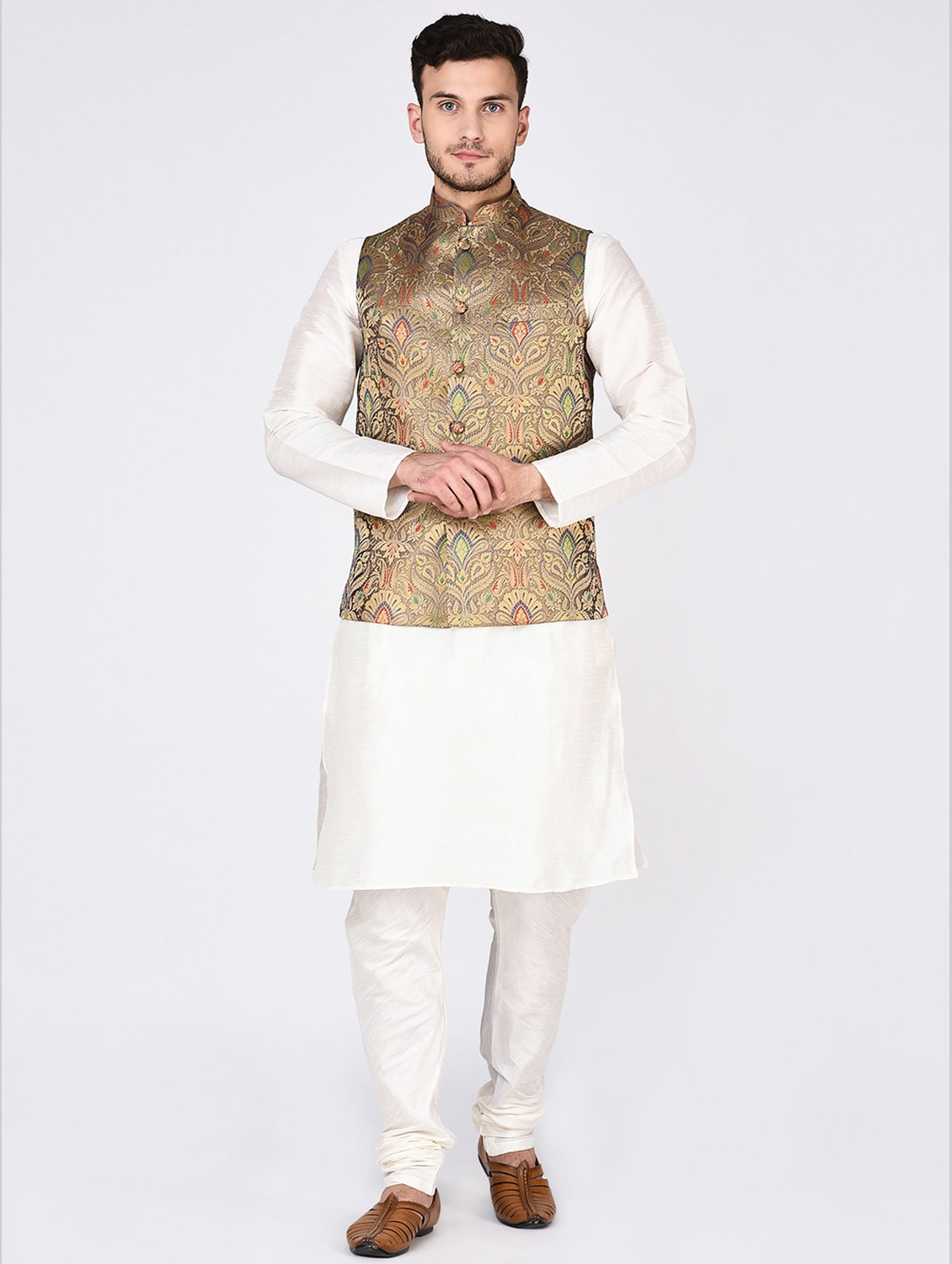 1fd8c74b6 Buy Cream Dupion Kurta Pyjama Set With Nehru Jacket for Men from Tag 7 for  ₹3117 at 55% off