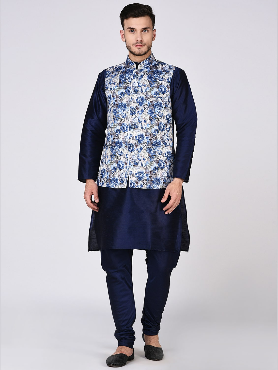 fee9169cce Navy Blue Dupion Kurta Pyjama Set With Nehru Jacket
