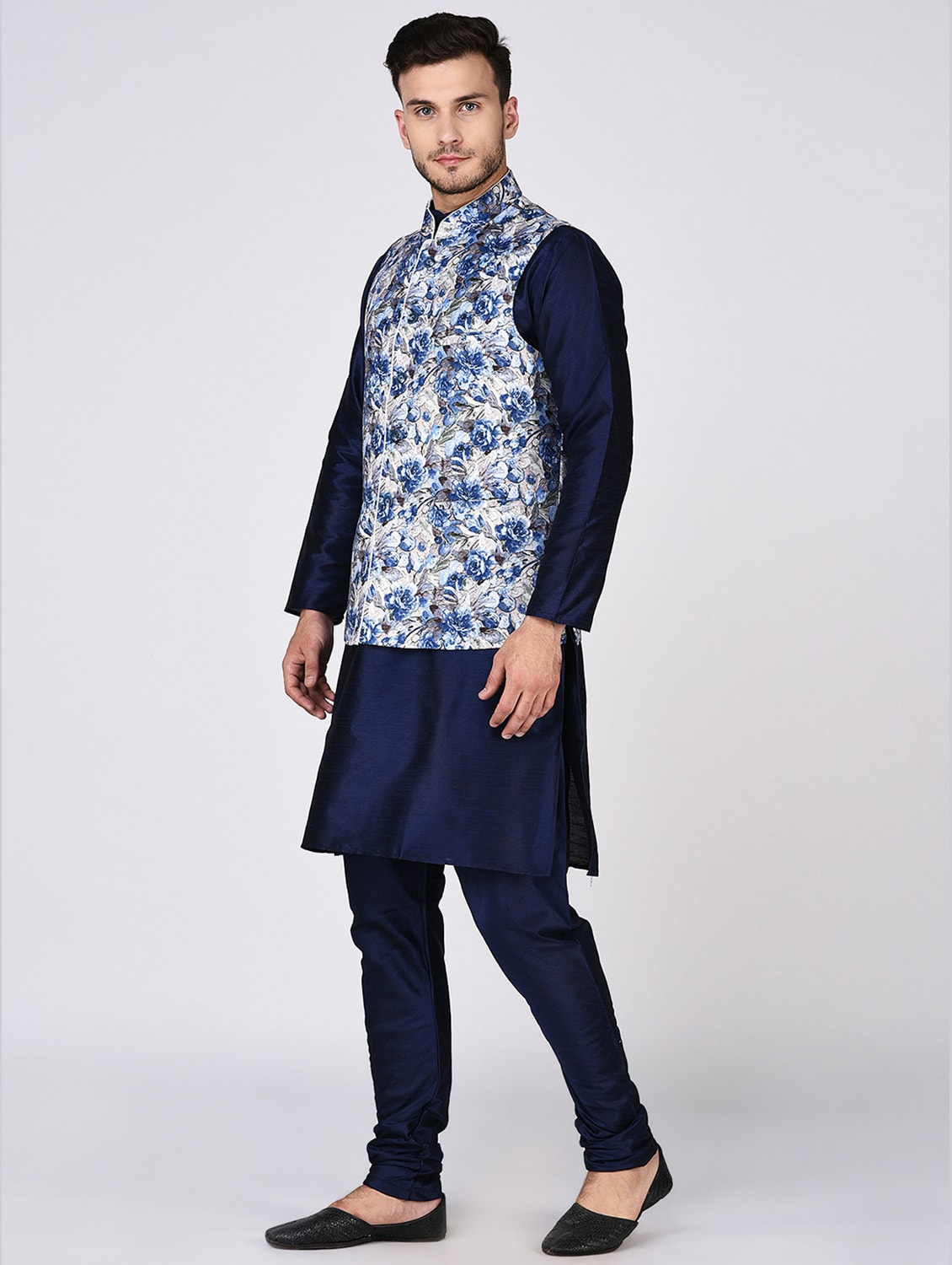 Buy Navy Blue Dupion Kurta Pyjama Set With Nehru Jacket by Tag 7 - Online  shopping for Ethnic Wear Sets in India  2a27f09e5