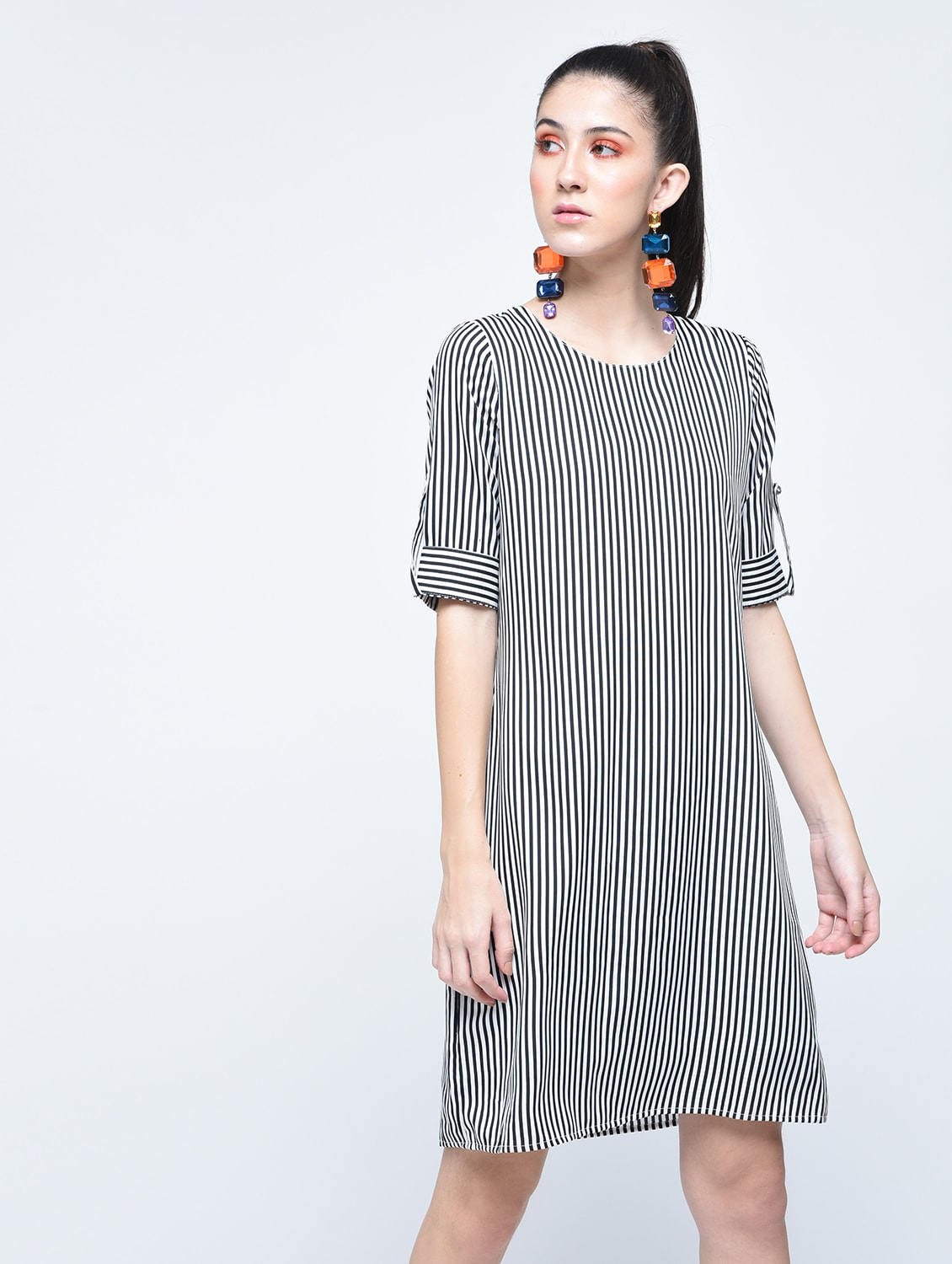35a67f5a5cf Buy Roll Tab Sleeved Striped Dress by A K Fashion - Online shopping for  Dresses in India