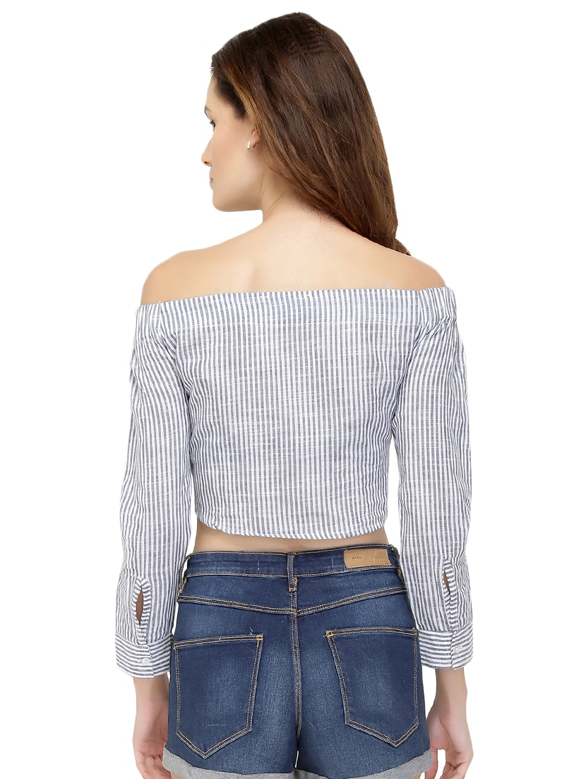 91c6057e2c7b3a Buy Button Up Off Shoulder Crop Top for Women from Chimpaaanzee for ₹430 at  46% off