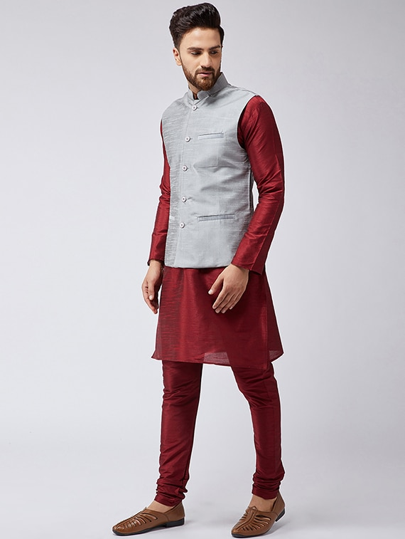 25fc5d550 Buy Maroon   Grey Silk Blend Kurta Pyjama Set With Nehru Jacket for Men  from Sojanya for ₹2738 at 66% off