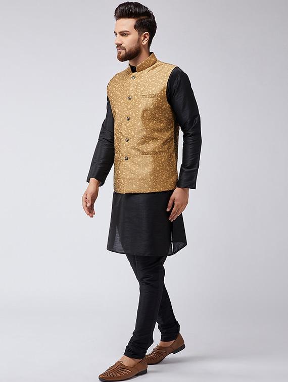 c6e8bdf5a Buy Black   Gold Silk Blend Kurta Pyjama Set With Nehru Jacket for Men from  Sojanya for ₹2738 at 66% off