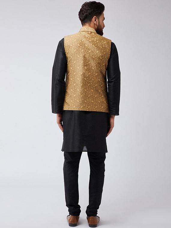 Buy Black Gold Silk Blend Kurta Pyjama Set With Nehru Jacket By