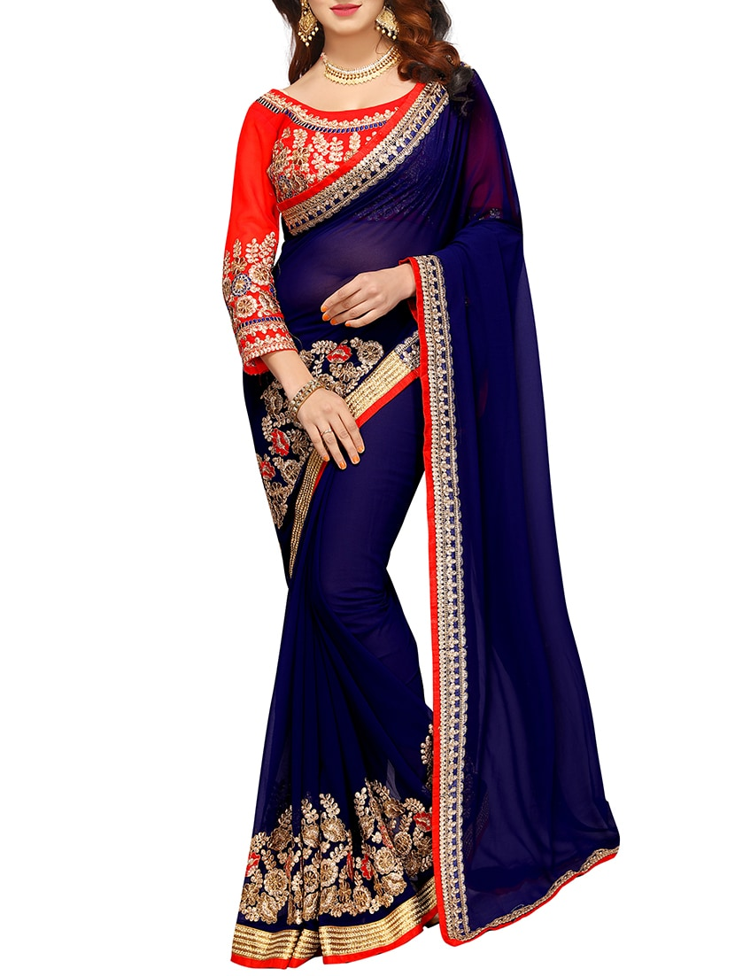 Blouse Floral With Navy Embroidered Saree Qusvmzp Blue WEHIDe9Y2