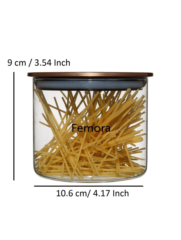 Buy Borosilicate Glass Golden Metallic Lid Jars For Kitchen Set Of