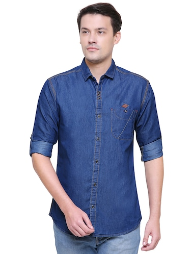 blue denim casual shirt - 15578270 - Standard Image - 1