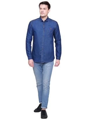 blue denim casual shirt - 15578270 - Standard Image - 4