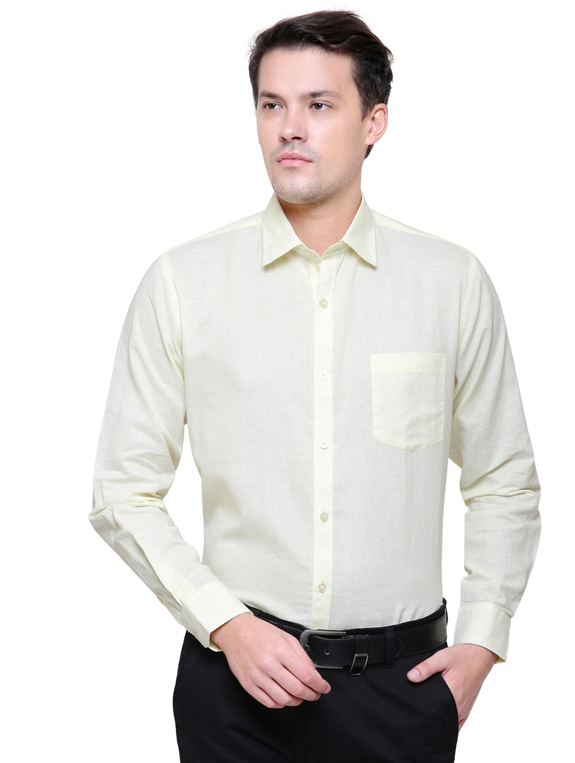 Buy Yellow Linen Formal Shirt For Men From Southbay For 1494 At 32