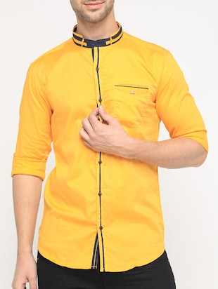 yellow cotton casual shirt - 15582605 - Standard Image - 1