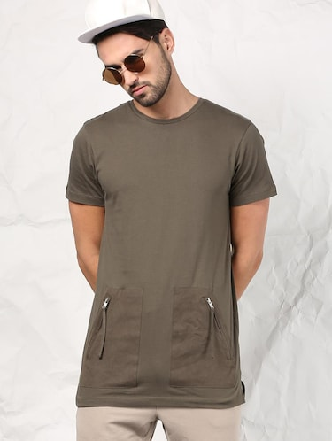olive green cotton t-shirt - 15604856 - Standard Image - 1