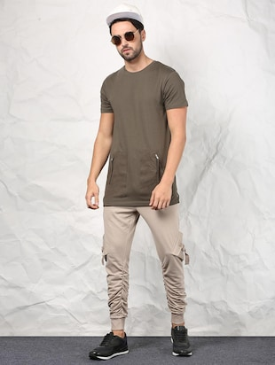 olive green cotton t-shirt - 15604856 - Standard Image - 4