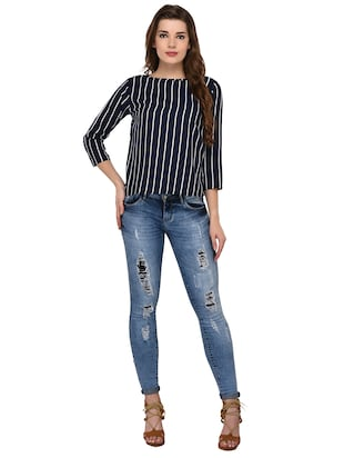 round neck striped top - 15607675 - Standard Image - 4