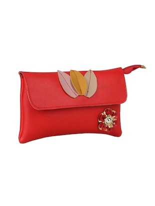 red leatherette (pu) regular sling bag - 15611744 - Standard Image - 4