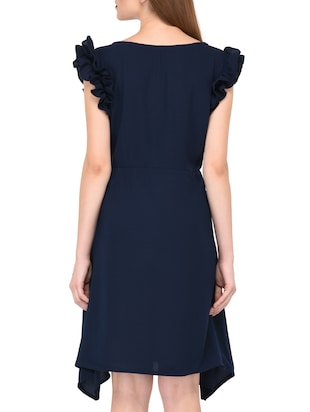 navy blue frill detail asymmetric dress - 15612875 - Standard Image - 4