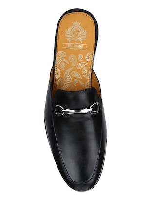black Leather slip on mules - 15613207 - Standard Image - 4