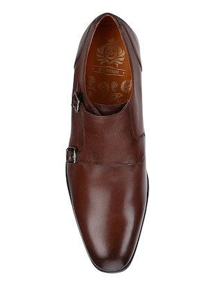 tan Leather slip on monk straps - 15613331 - Standard Image - 4