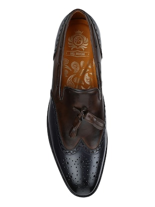 brown Leather tassel slip ons - 15613351 - Standard Image - 4