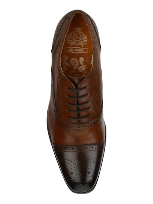 tan Leather lace-up oxfords - 15613374 - Standard Image - 4