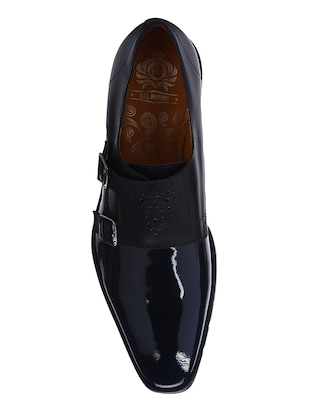 navy Patent Leather slip on monk straps - 15613376 - Standard Image - 4