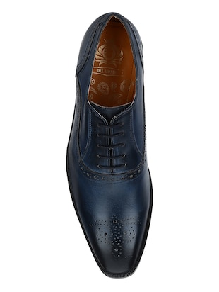 navy Leather lace-up oxfords - 15613379 - Standard Image - 4