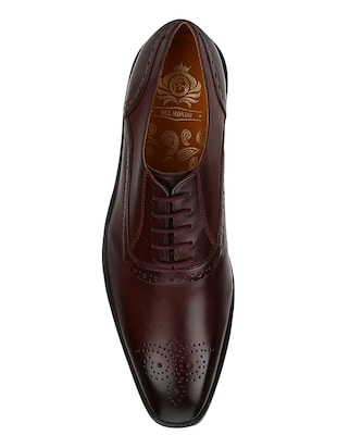 brown Leather lace-up oxfords - 15613380 - Standard Image - 4