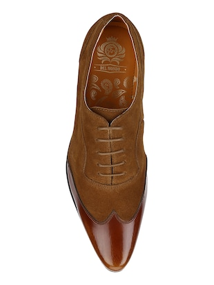 tan Suede lace-up brouges - 15613386 - Standard Image - 4