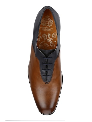 tan Leather lace-up oxfords - 15613404 - Standard Image - 4
